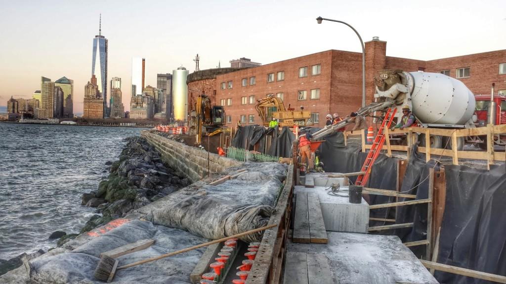Granite Block Seawall : Seawall construction marine nyc governors island